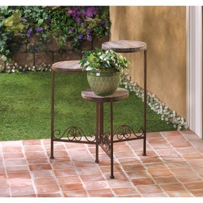 Triple Rustic Plant Stand Outdoors